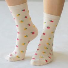 Женские носки с цветочным рисунком на паголенке и следе L-L005